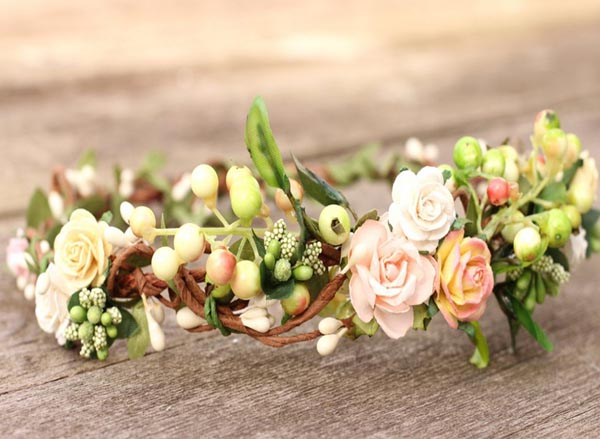 Peach Wedding Hair Crown Woodland Flower Crown Blush Hair Crown
