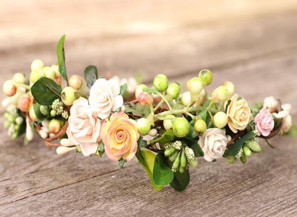 ... Peach Wedding Hair Crown Woodland Flower Crown Blush Hair Crown ...