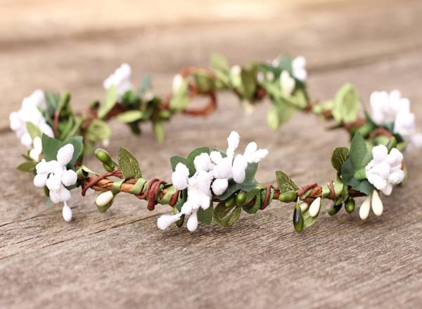 Eucalyptus Leaf Hair Wreath Garden Wedding Flower Crown White Hair Crown Moss Green Artificial