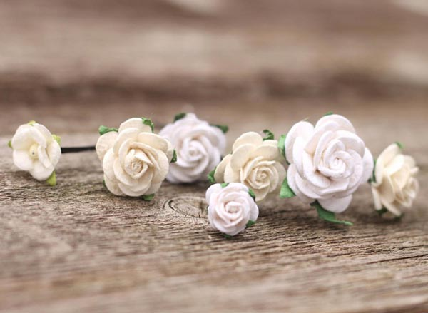 Flower Wedding Rose White Bobby Pins Ivory Bridal Hair Pick Wedding