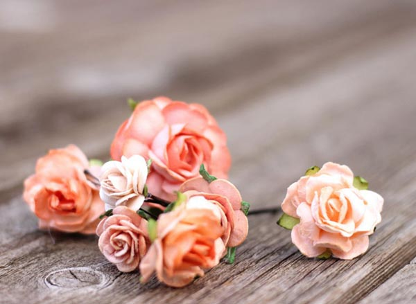 Blush Peach Flower Hair Bobby Pins Floral Bridal Hair Picks