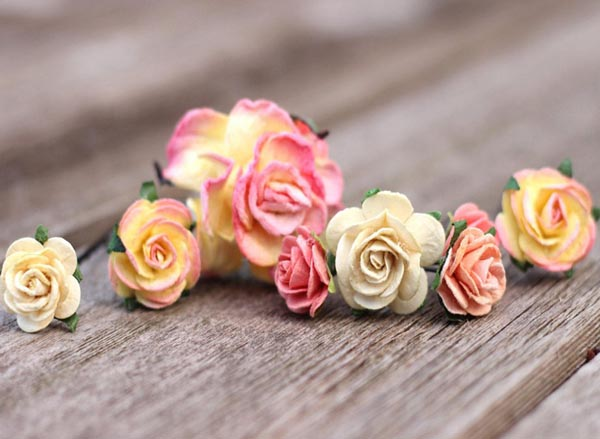 Wedding Flower Bobby Hair Pins Peach Wedding Flower Coral Hair Pins