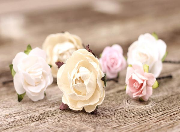 Wedding Flower Hair Pins Ivory and Blush Bridal Flower Hair Picks