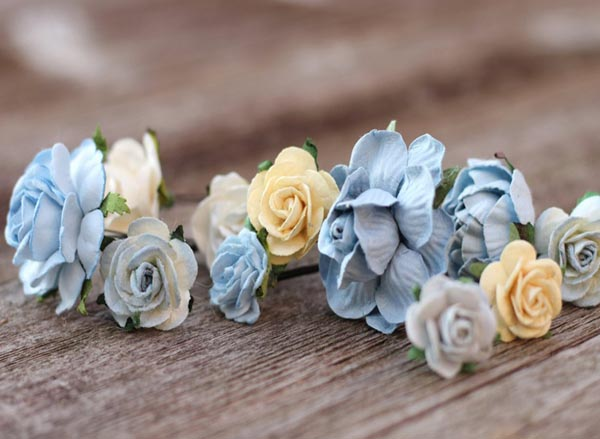 Wedding Flower Hair Pins Dusty Blue Bridal Hair Pieces Cream Roses