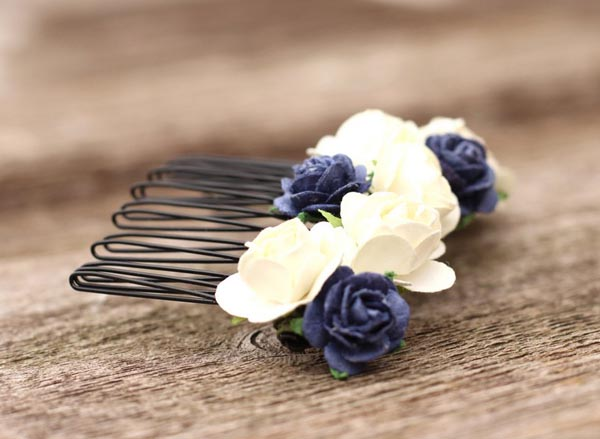 Navy Wedding Flower Hair Comb Blue Headpiece Bridal Flower Ivory