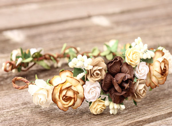 Earth Tone Fall Flower Crown Beige Brown Wedding Hair Crown Rustic