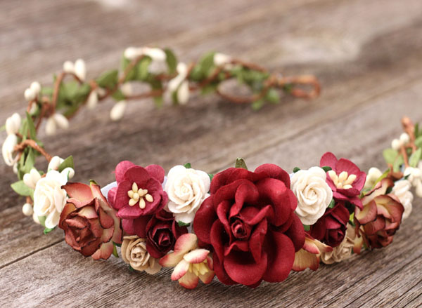 Burgundy Flower Crown Floral Hair Piece Deep Red Wedding Hair Crown