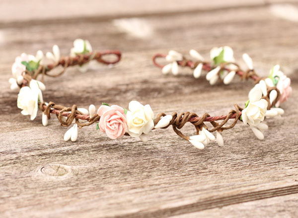 Simple Flower Crown Blush Floral Crown Headband Ivory Headpiece