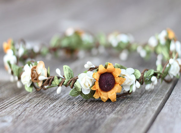 Sunflower Crown Fall Flower Crown Ivory Rustic Wedding Floral Crown