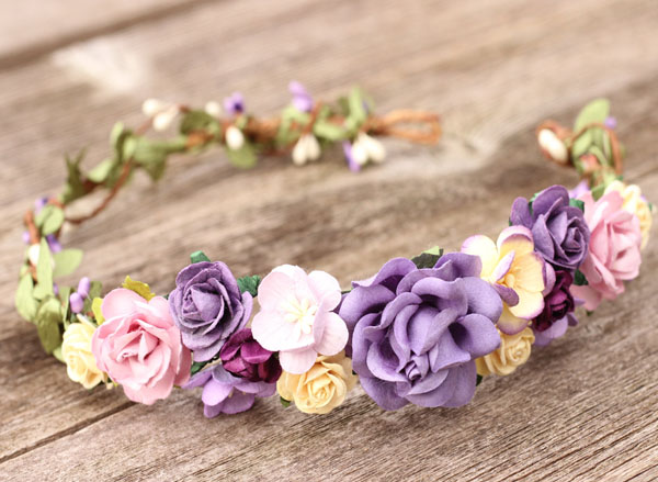 Purple Fall Flower Crown White & Lilac Bridal Floral Crown Headband