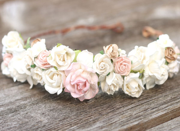 X4 Custom Flower Crowns (2) Womens (1) Child (1) Toddler Champagne Bridal Flower Crown