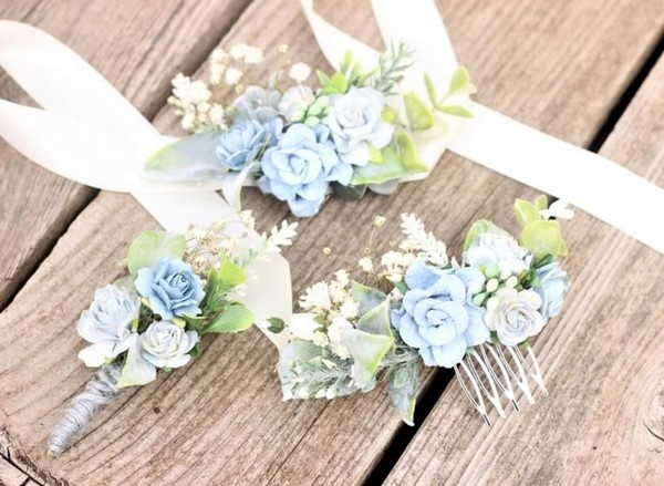 Dusty blue corsage and boutionierre set babies breath flower hair comb