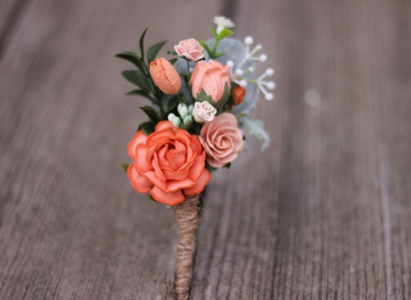 Boutonniere wedding groomsmen peach and orange
