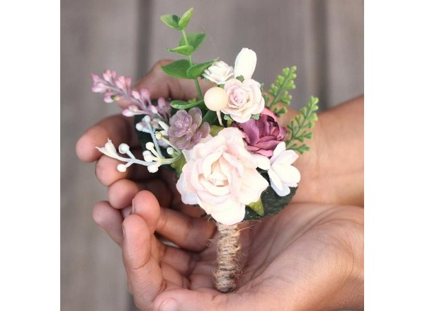 Mens boutonniere wedding mauve blush flower corsage