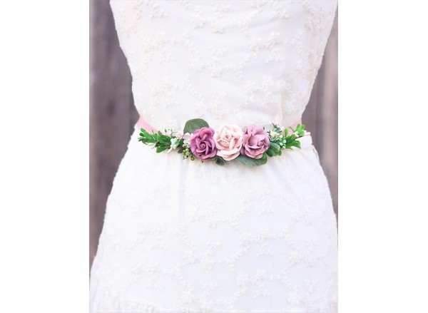 Wedding belt mauve flower sash
