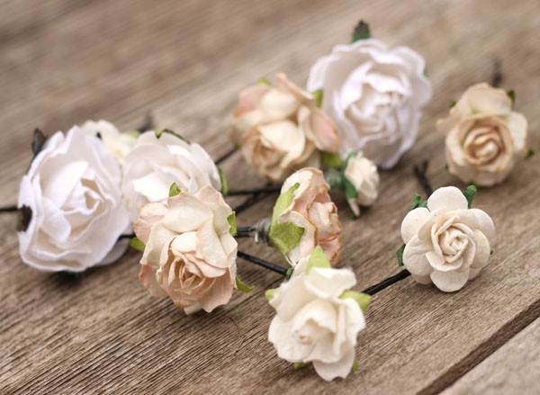 Ivory Rustic Hair Pins Champagne Bobby Hair Pins Wedding Hair Piece