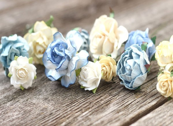 Blue Wedding Hair Pins Set Ivory Flower Clips Bobby Hair Pin Piece