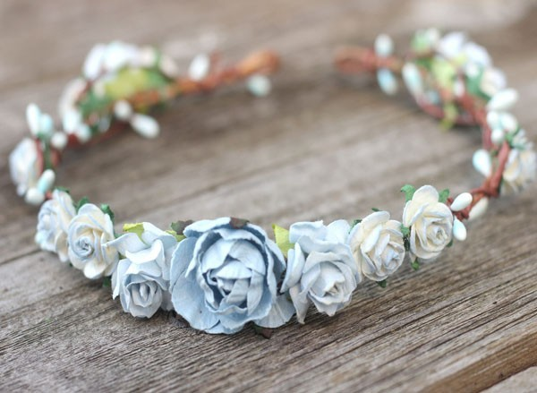 Light Blue Headpiece Wedding Flower Crown Headband