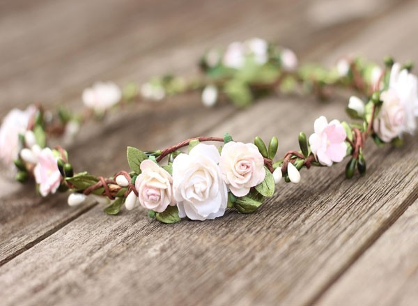 Blush Flower Crown Greenery Wedding Floral Crown Ivory