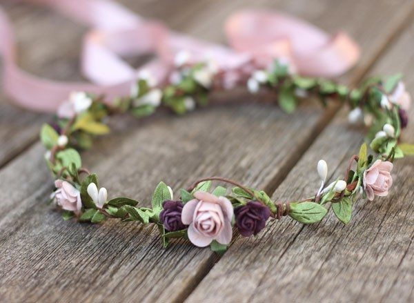 Wedding Flower Crown Mauve Fall Floral Crown Plum Purple Headband