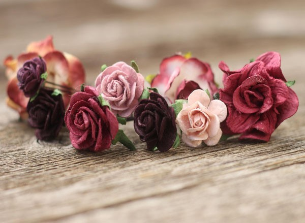 Burgundy Wedding Flower Hair Pins Mauve Bridal Hair Pins Marsala