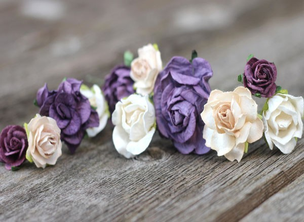 Purple Wedding Hair Pin Set Champagne Plum Flower Hair Clips Piece