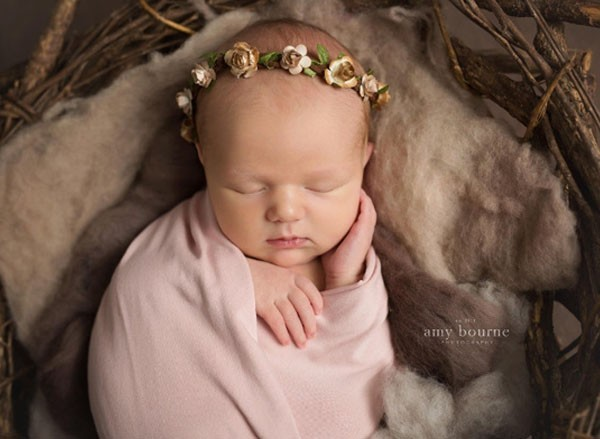 Newborn Flower Crown Baby Floral Crown Rustic Toddler Gold Headband