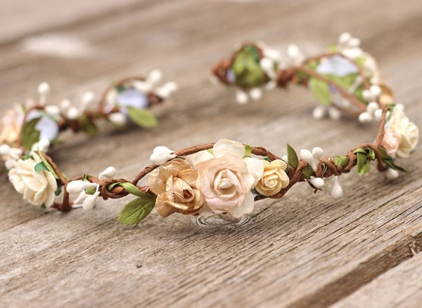Champagne Flower Crown Fall Floral Crown Rose Gold Bridal Headpiece