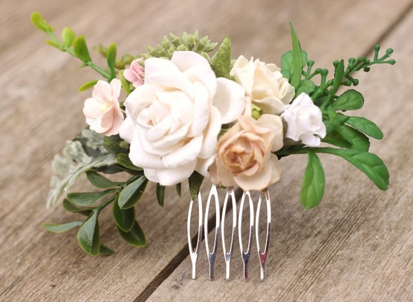 Champagne Wedding Hair Comb Eucalyptus White Bridal Leaf Hair Piece