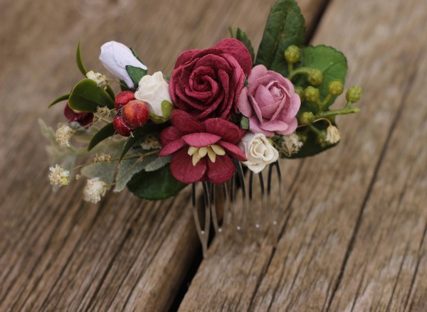 34a9b90fd1fe Burgundy Bridal Hair Comb Fall Hair Piece Winter Wedding Comb Red
