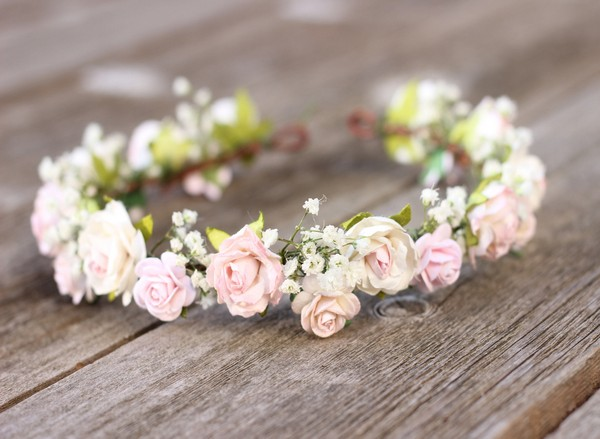 Babies breath flower crown - Blush and white wedding flower crown