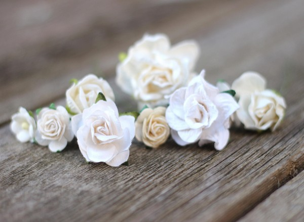 White Wedding Hair Pins Ivory Bridal Bobby Hair Flower Pins Brides