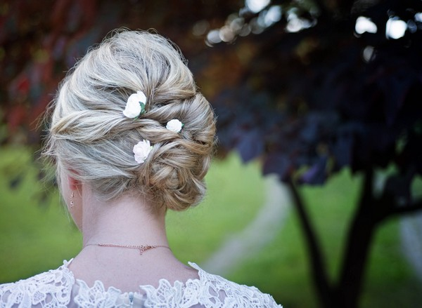 Wedding Hair Pins White Bobby Hair Pin Set of 3 Ivory Bridal Flower