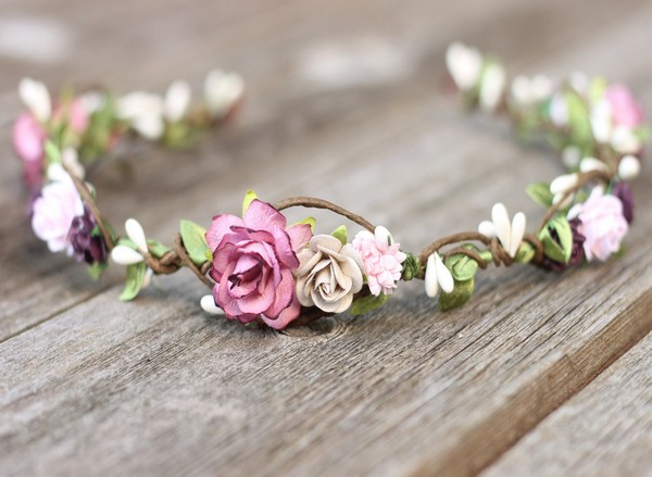 Flower crown mauve and taupe purple wedding floral crown headband