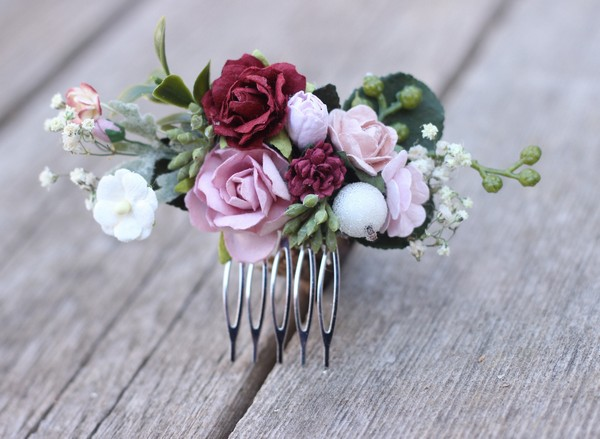 Flower hair comb Burgundy hair clip Mauve bridal hair comb maroon