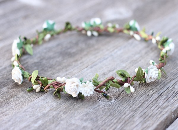 Ivory Floral Crown White Flower Crown Boho Headpiece Greenery Halo