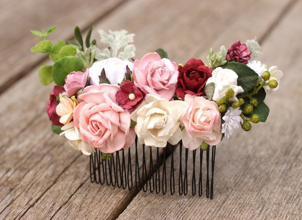 Burgundy peach blush white flower comb wedding