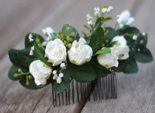 Hair comb white wedding flower hair comb eucalyptus hair vine Ivory