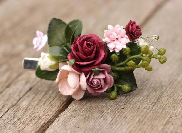 8bb48768abb49 Floral hair clip burgundy flower hair clip comb mauve blush hair piece