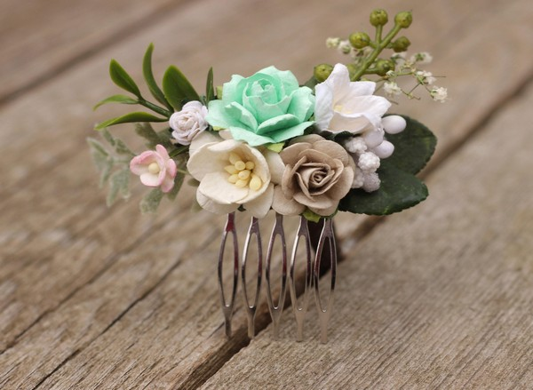 Mint bridal flower hair comb Ivory floral hair piece boho comb