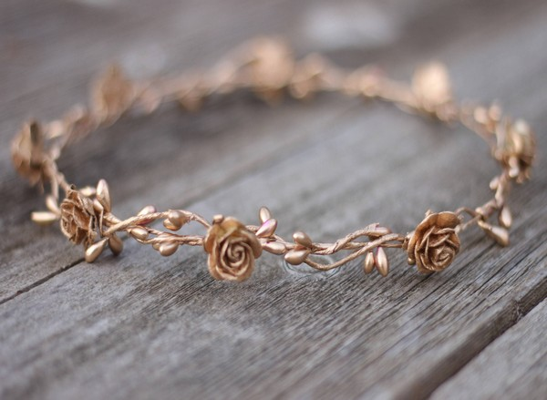 Rose Gold Flower Crown Womens Pure Gold Floral Crown Halo