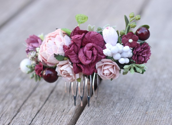 Flower hair wedding comb burgundy floral hair piece mauve comb