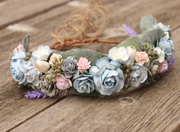 Flower crown wedding sage blue grey floral crown adult lavender