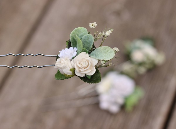 White Wedding Hair Pins Ivory Bridal Flower Hair Pins Rustic Bride