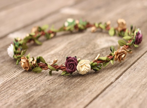 Floral Crown Plum Purple and Gold Flower Crown Wedding Auburn Crown