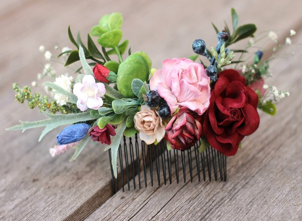 Bridal flower hair comb burgundy blush floral hair comb navy