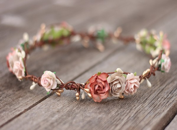 Flower crown champagne Gold floral crown adult blush bridal halo