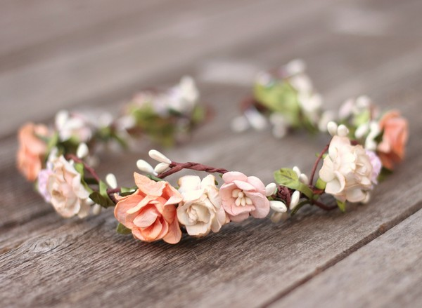 Flower crown wedding peach floral crown champagne boho hair wreath
