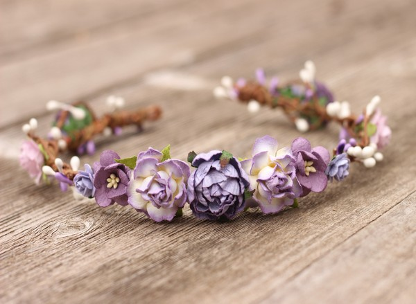Purple flower crown - Wedding flower crown