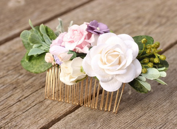 Muted blush lavender flower hair piece white flower hair comb bridal